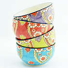 4 Handpainted Ceramic Lotus Bowls
