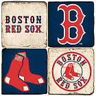 Boston Red Sox Marble Coaster Set