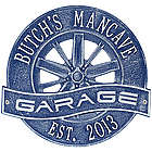 Personalized Dark Blue Racing Wheel Aluminum Garage Plaque