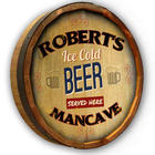 Ice Cold Beer Personalized Quarter Barrel Sign