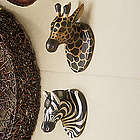 Carved Wood Safari Animal Head Wall Hangings