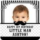 1st Birthday Mustache Custom Photo Personalized Square Containers