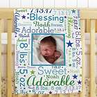 Personalized Photo Word-Art Fleece Blanket for Baby