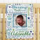Personalized Photo Word-Art Fleece Blanket for Baby