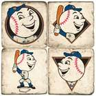 New York Mets Mascot Italian Marble Coasters with Iron Holder