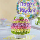Easter Egg of Blooms Bouquet with Happy Easter Balloon