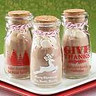 Personalized Printed Holiday Vintage Milk Jar Party Favors