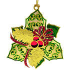 Elegant Holly Gold Plated Brass Christmas Ornament