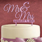 Wedded Couple Personalized Painted Finish Wood Cake Topper
