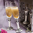Distinctive Damask Porcelain Champagne Flutes