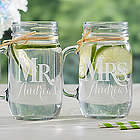 Mr. & Mrs. Personalized Glass Mason Jar Set