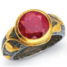 Ruby Dream Ring with Gold Plated Oxidized Sterling Silver Band