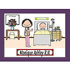 Personalized Hospital Nurse Cartoon Print