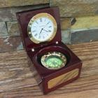 Personalized Mahogany Finish Compass and Clock