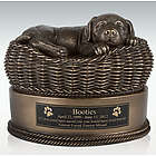 Large Bronze Dog in Basket Engravable Cremation Urn