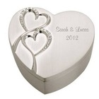 Personalized Wedding Silver Heart Keepsake Box