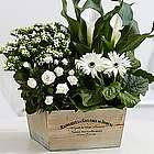 European White Garden Flowers in Market Trug