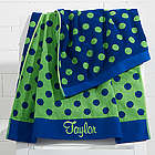 Embroidered Navy and Green Polka Dot Towel