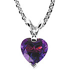 Amethyst Heart Solitaire Pendant in 14K White Gold