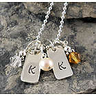 Square Initial Tags Hand Stamped Necklace