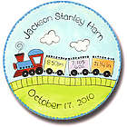 "11"" Personalized Baby Train Birth Announcement Plate"