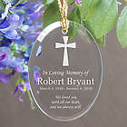 Engraved In Loving Memory Cross Oval Glass Ornament