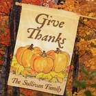 Personalized Give Thanks Pumpkins House Flag