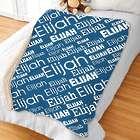 Boy's Personalized Word-Art Sherpa Blanket