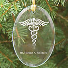 Medical Engraved Oval Glass Ornament