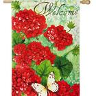Red Geraniums Welcome House Flag