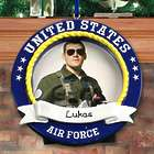 Personalized US Air Force Round Photo Frame Ornament