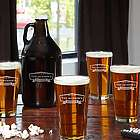 Classic Brewery Personalized Beer Glasses and Growler