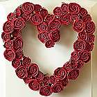Faux Red Rose Heart Wreath