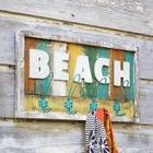 Wooden Beach Sign with Hooks