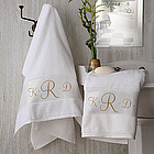 White Cotton Monogrammed Bath Towel Set