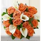 Orange Roses & White Calla Lily Bouquet