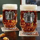 2 Strasbourg Glass Steins with Personalized Crests