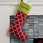 Personalized Holiday Tidings Geometric Design Christmas Stocking