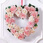 "12"" Keepsake Pink Rose Heart-Shaped Wreath"