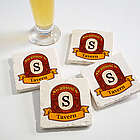 Vintage Bar Personalized Tumbled Stone Coaster Set