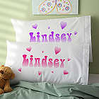 Lots of Hearts Personalized Girl's Pillowcase
