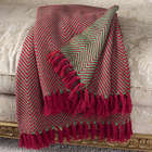 Cotton Throw Blanket with Decorative Edge Tassels