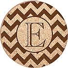 Monogram Personalized Zigzag Cork Drink Coasters