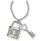 Lock and Heart Key Sparkling Necklace in Sterling Silver