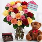 Ultimate Birthday Rose Bouquet with Teddy Bear and Chocolates
