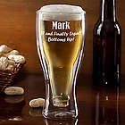 Personalized Birthday Bottoms Up Beer Glass