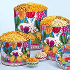2 Gallons and 3 Flavors of Popcorn in Easter in Bloom Tins