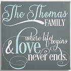 Where Life Begins Family Quote 8x8 Personalized Canvas Print