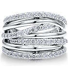 Sterling Silver Cubic Zirconia Multi Strand Woven Ring