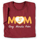 Mom's Heart Personalized Number of Kids T-Shirt
